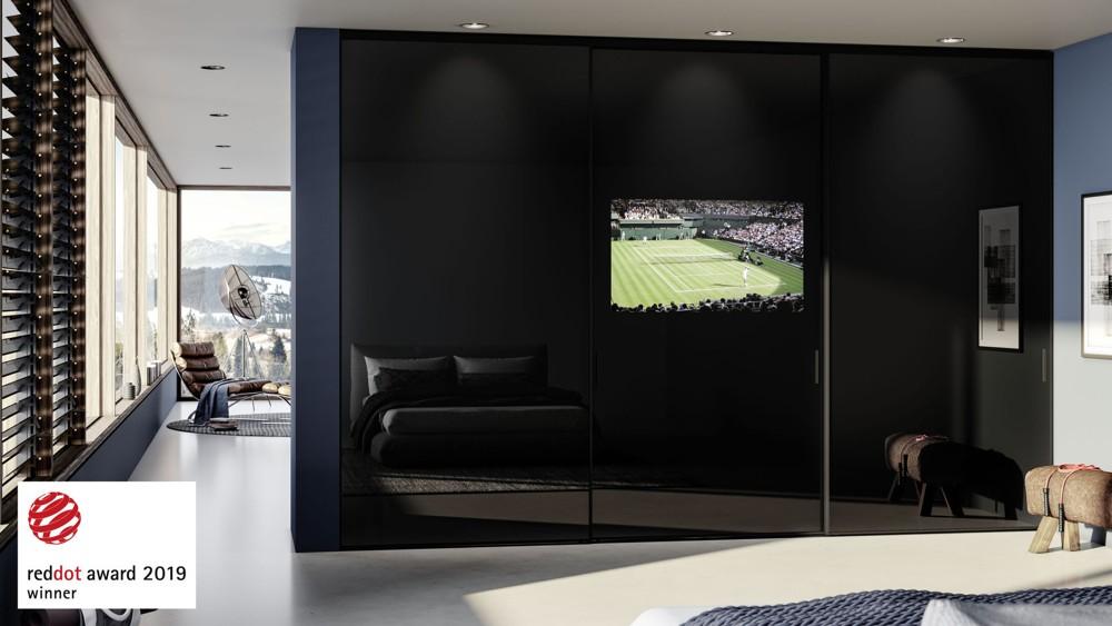 Sliding TV Door mit integriertem Flachbildschirm. Abbildung: raumplus