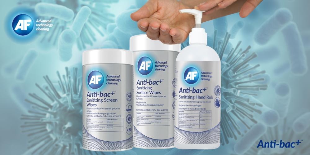 Die Anti-bac+-Reihe von AF verspricht effektive Desinfektion und Schutz gegen Viren. Abbildung: AF International