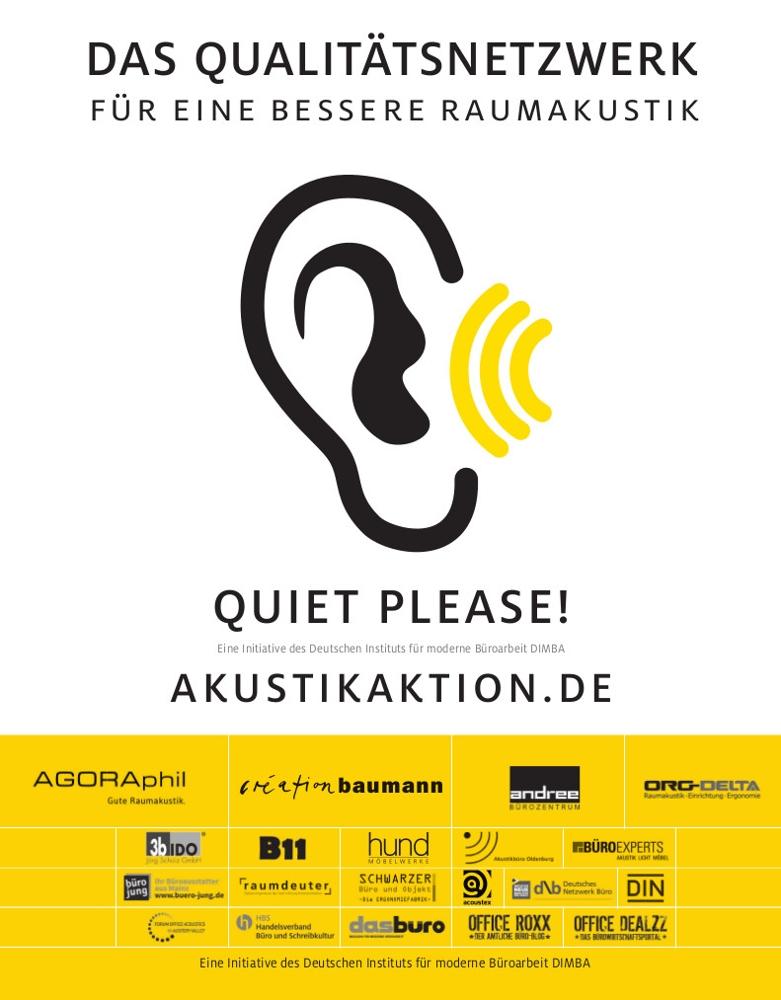 Die Aktion Quiet please! setzt sich seit 2018 für eine bessere Raumakustik in Büroumgebungen ein.