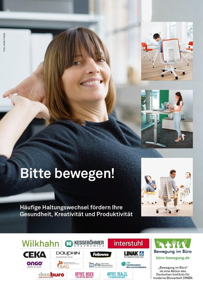 """Die Aktion """"Bewegung im Büro"""" gibt es seit 2013. Sie setzt sich für mehr gesunde Haltungswechsel ein. <a href=""""http://büro-bewegung.de"""" target=""""_blank"""" rel=""""noopener"""">büro-bewegung.de</a>"""
