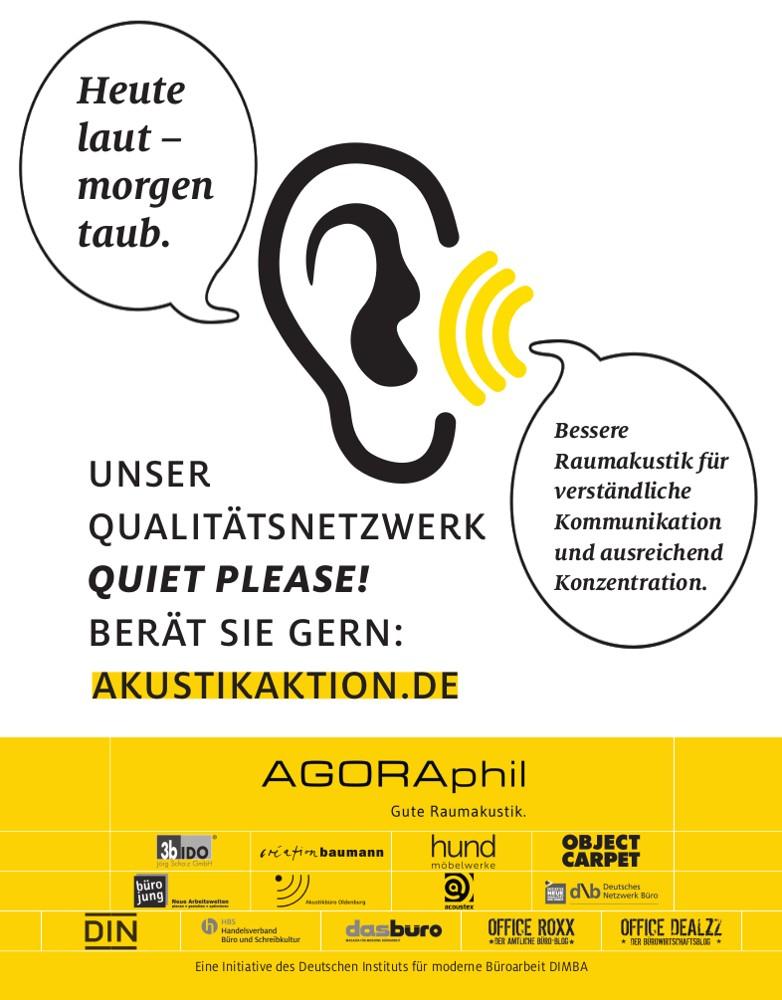 """Die Akustikaktion Quiet please! engagiert sich seit 2018 für eine bessere Raumakustik. <a href=""""http://akustikaktion.de"""" target=""""_blank"""" rel=""""noopener"""">akustikaktion.de</a>"""