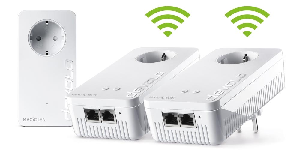 Das Magic 2 WiFi Multiroom-Kit sorgt für Datenübertragungen von bis zu 2.400 Mbit/s über die Stromleitung mit einer Reichweite von bis zu 500 Metern. Abbildung: Devolo