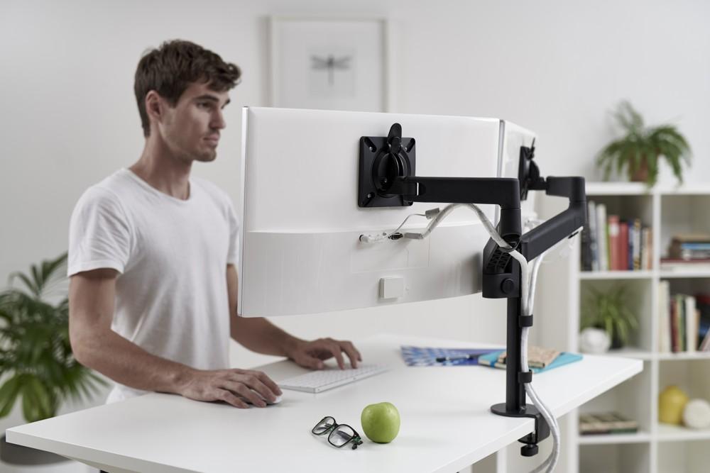 Das Arbeiten am Doppelbildschirm ist möglich, ohne den vorhandenen Arm zu entfernen.