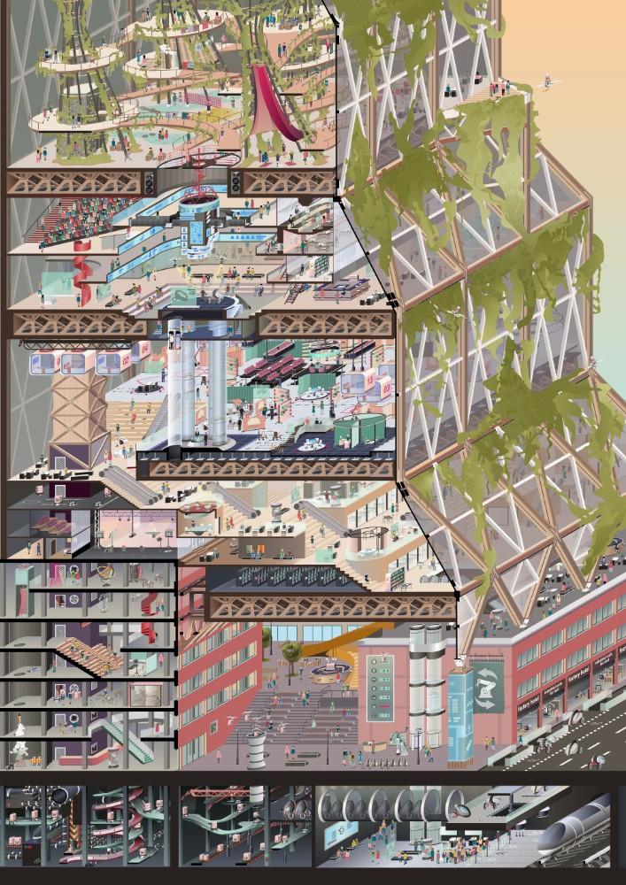 Der (vertikale) Campus vereint Arbeit, Wohnen, Freizeit und Konsum in einem Gebäude. Abbildung: Tobias Johannes Haag, Yonne-Luca Hack, Nils Fröhling (alle TU München) und Raphael Gielgen (Vitra)