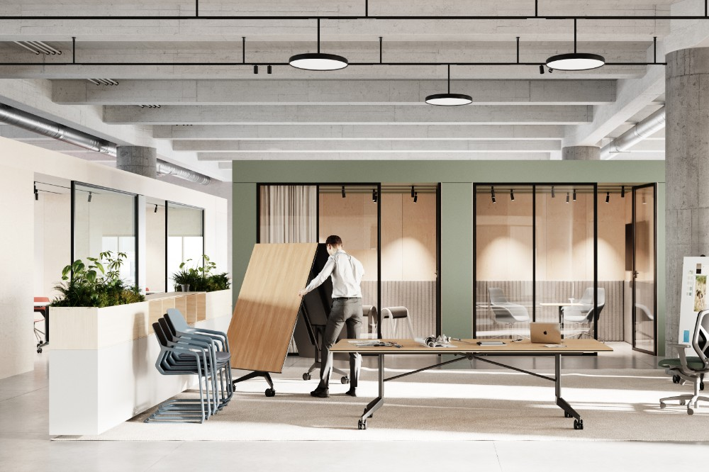 Die Möbel lassen sich im Human Centered Workplace wie Tools ganz nach Bedarf für die aktuell benötigten Settings selbst zusammenstellen.  Abbildung: 1zu33, Wilkhahn
