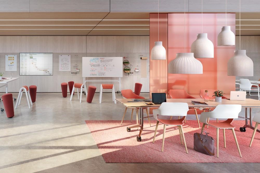 Der halböffentliche Innovations- und Kollaborationsbereich ist im Human Centered Workplace als Einladung zur flexiblen Zusammenarbeit konzipiert. Abbildung: 1zu33, Wilkhahn