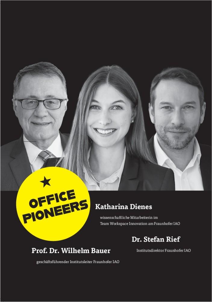 Katharina Dienes (wissenschaftliche Mitarbeiterin im Team Workspace Innovation) Prof. Dr. Wilhelm Bauer (geschäftsführender Institutsleiter) & Dr. Stefan Rief (Institutsdirektor), Fraunhofer IAO. Abbildung: IAO