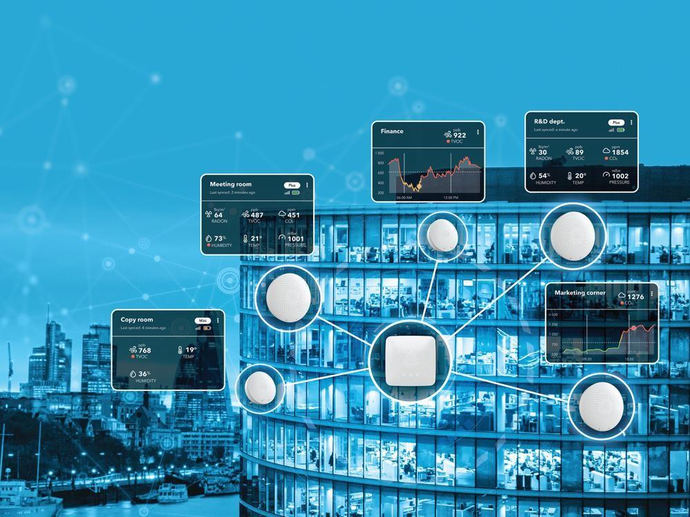 Die Airthings for Business-Lösung überwacht die Luftqualität in Innenräumen in Echtzeit. Abbildung: Airthings