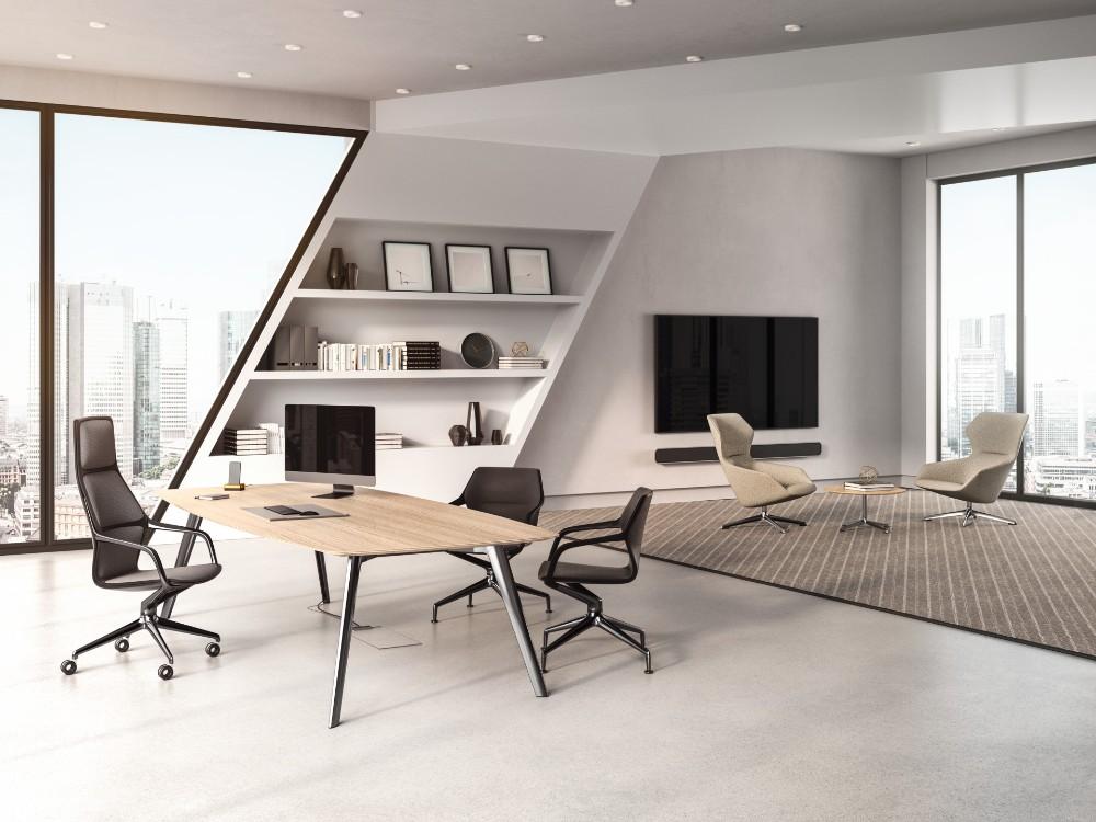 Egal, ob Teamwork im Konferenzraum oder eine gemütliche Auszeit im Lounge-Bereich gefragt sind: Die ray collection hat für alles eine Antwort. Abbildung: Brunner GmbH