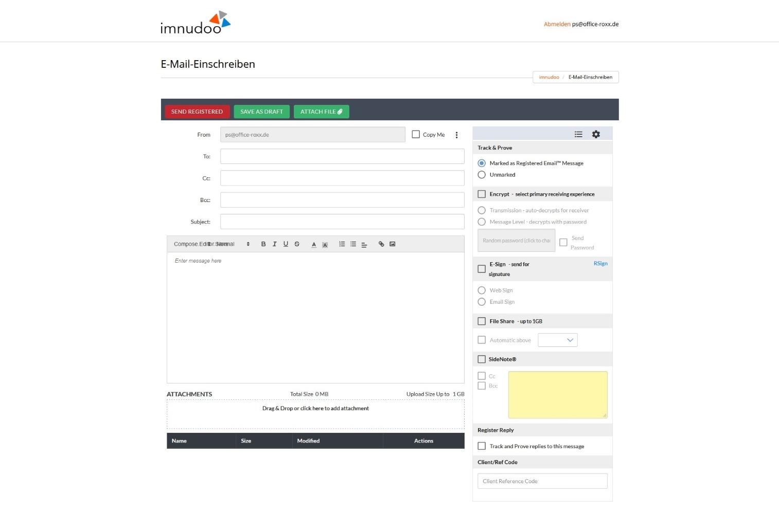 Durch die integrierte Verbindung mit RMail können verschlüsselte E-Mails unkompliziert versendet werden.