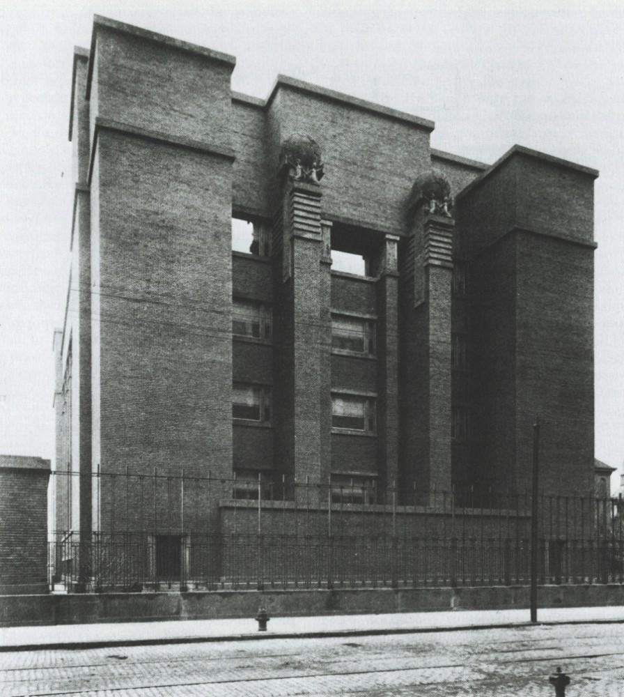 Dunkle Ziegelsteine prägten die Fassade des Larkin Administration Buildings. Abbildung: Frank Lloyd Wright Building Conservancy