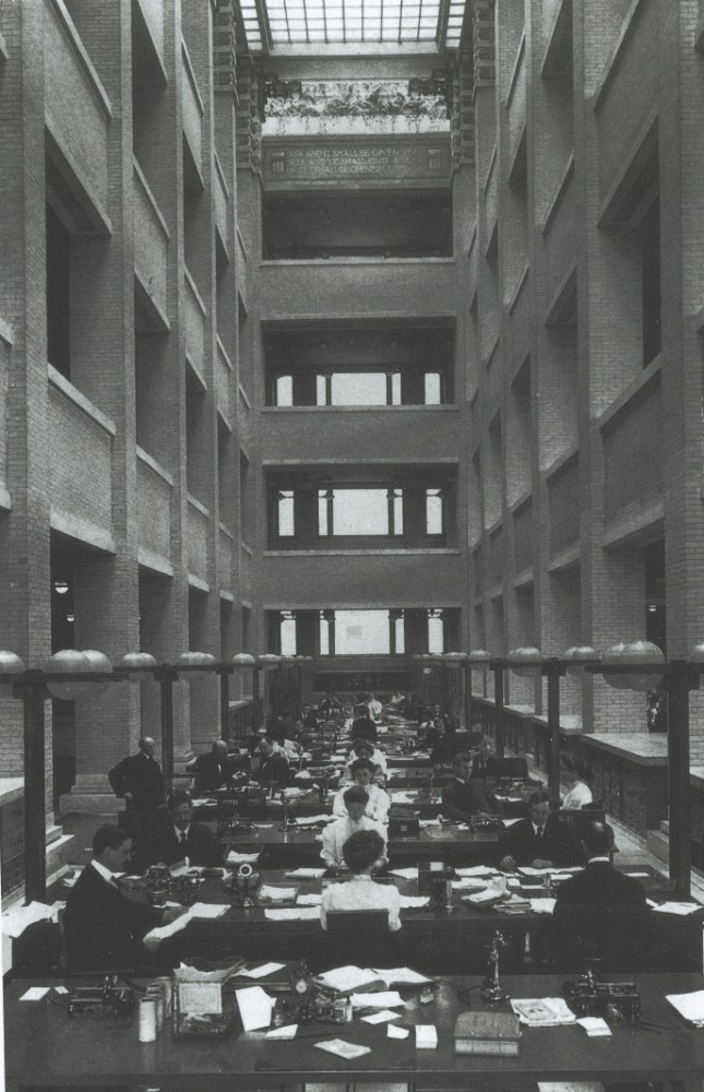 Ein Atrium mit Glasdach versorgte alle Etagen mit Tageslicht. Abbildung: Frank Lloyd Wright Building Conservancy