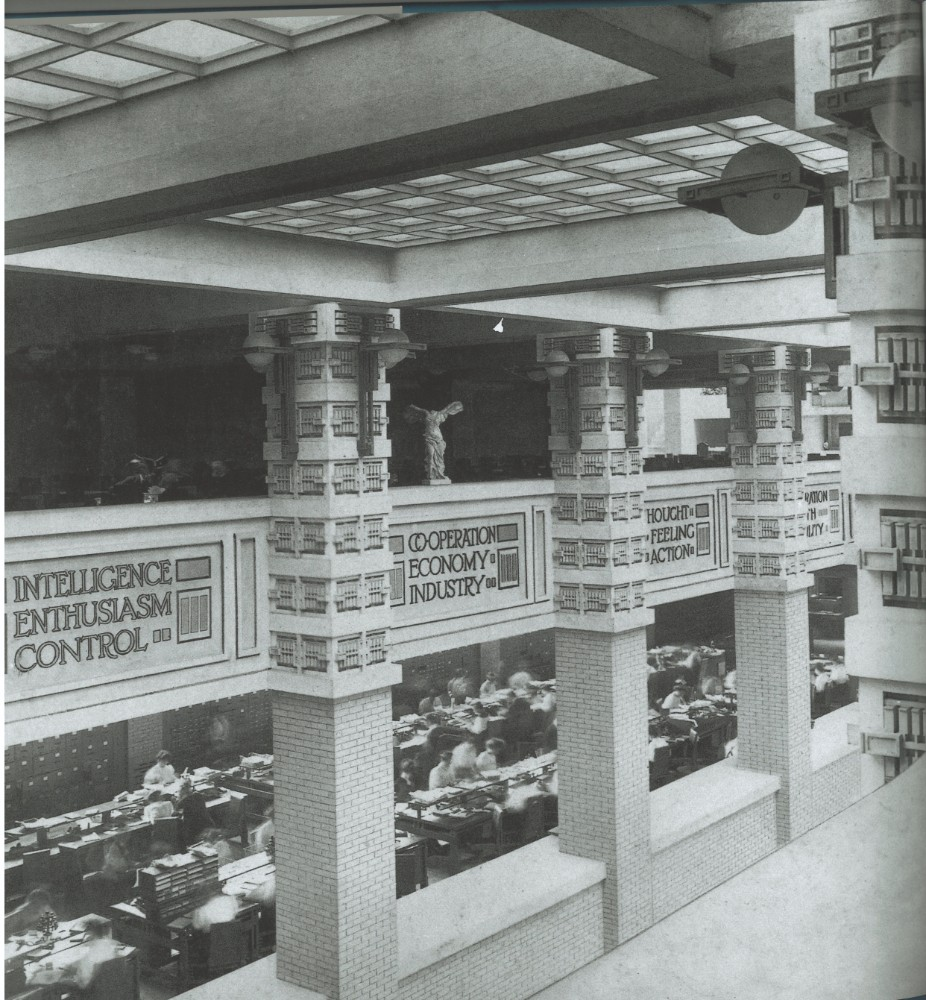 Um das Atrium herum waren die Etagen balkonartig angeordnet. Abbildung: Frank Lloyd Wright Building Conservancy