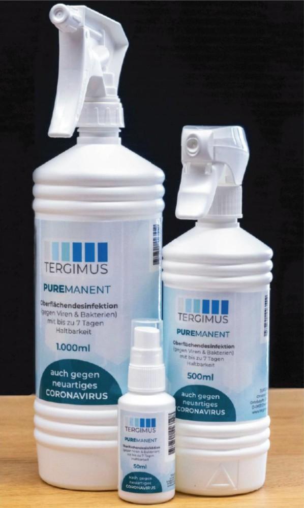 Puremanent-Oberflächendesinfektion wirkt bis zu sieben Tage auf Arbeitsplatz-Oberflächen. Abbildung: CTI GmbH