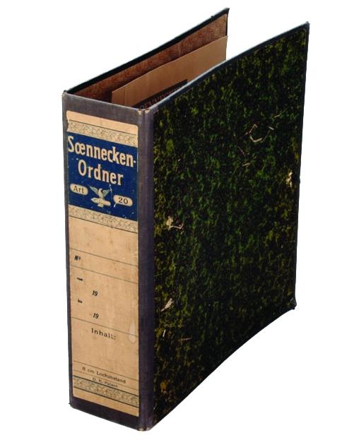 Die Urform des Aktenordners von Friedrich Soennecken. Abbildung: Soennecken