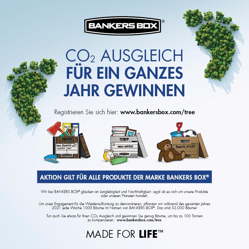Bankers Box bietet die Möglichkeit, einen Ausgleich der eigenen CO2-Emissionen zu gewinnen. Abbildung: Fellowes.