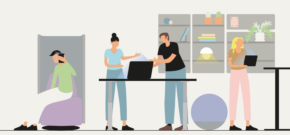 Das Kinnarps-Whitepaper zeigt Möglichkeiten einer neuen Gestaltung von Büroräumen. Abbildung: Kinnarps