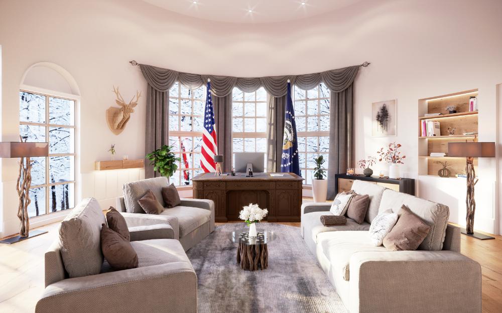 Das Oval Office mit alpiner Einrichtungsnote. Abbildung: Mivisio