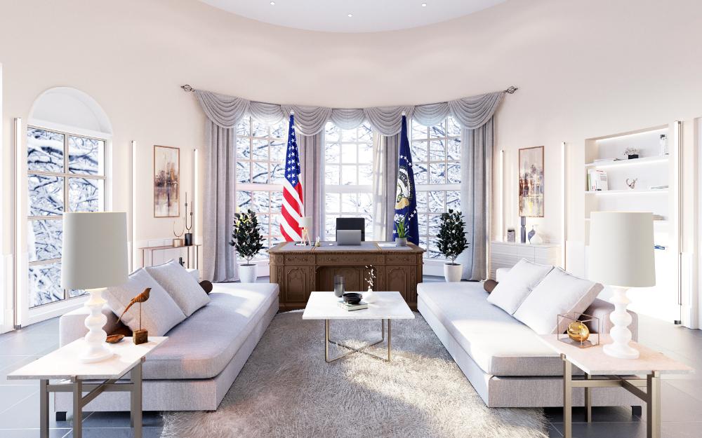 Das Oval Office im luxuriösen Stil. Abbildung: Mivisio