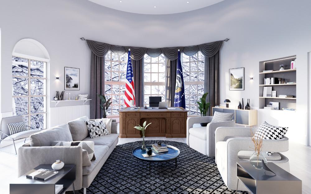 Das Oval Office im skandinavischen Look eingerichtet. Abbildung: Mivisio