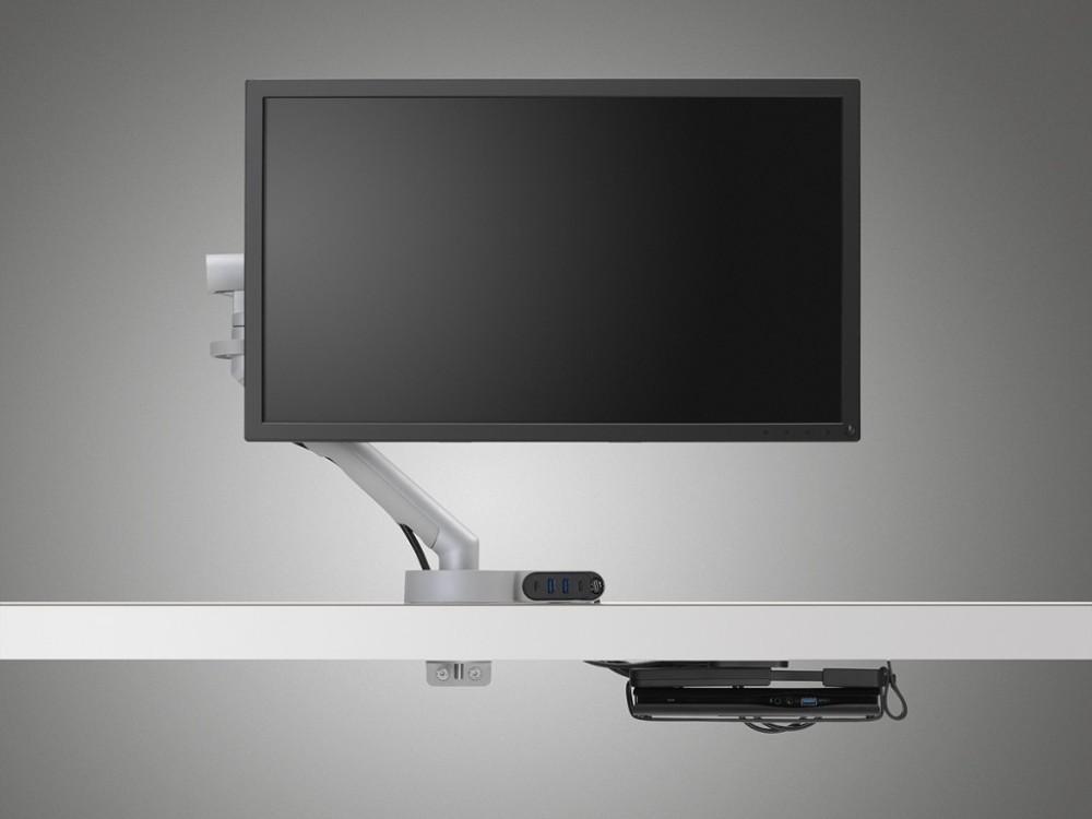 Der Konnektivitäts-Hub Ondo und die Halterung Loop Micro bringen Übersichtlichkeit und Ordnung in den Schreibtisch-Alltag. Abbildung: CBS.