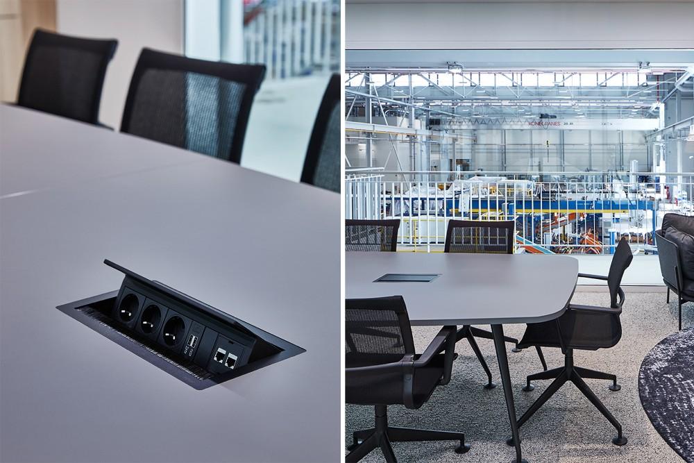 Der EVOline FlipTop Push ist eine elegante Einbaulösung für alle Arbeitsbereiche, die mit Strom, Daten und Multimedia versorgt werden müssen.  Abbildung: Schulte Elektrotechnik
