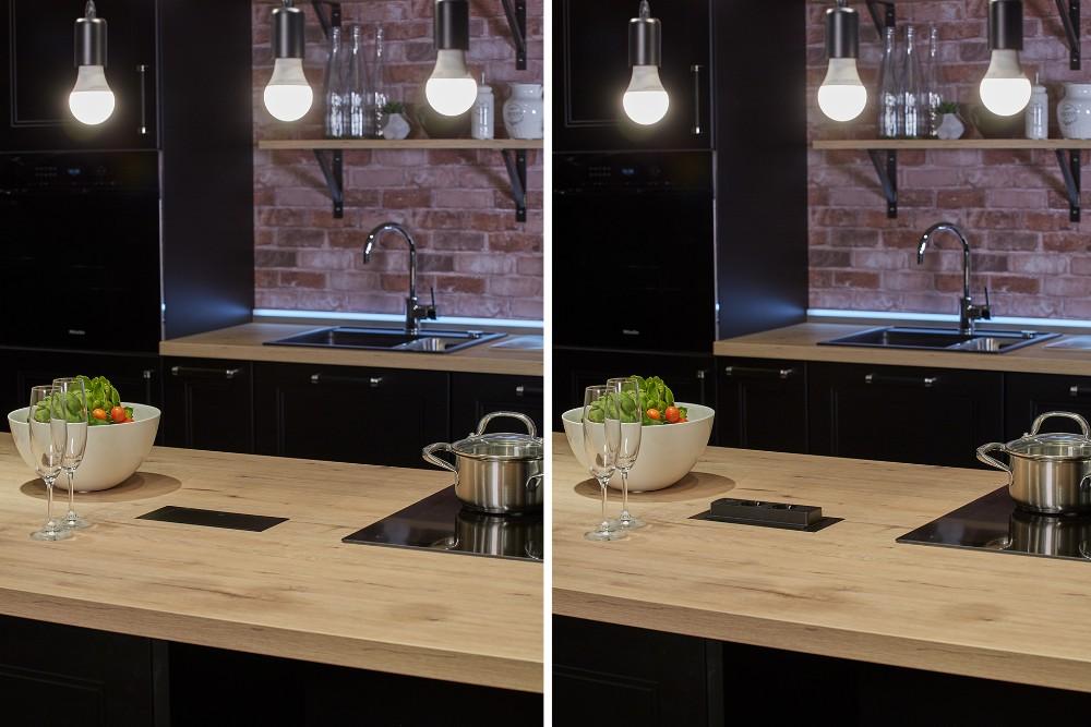 Der EVOline BackFlip ist die sichere Elektrifizierungslösung für repräsentative Küchen, Empfangstresen und Präsentationsmöbel. Durch leichtes Antippen dreht sich der Einsatz der Einbaulösung nach oben und gibt zwei Steckdosen sowie einen USB-Charger frei.  Abbildung: Schulte Elektrotechnik