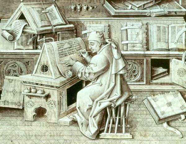 """Die Darstellung """"Escribano"""" zeigt einen mittelalterlichen Schreiber in einem Skriptorium. Abbildung: Jean Le Tavernier, Public domain, via Wikimedia Commons"""