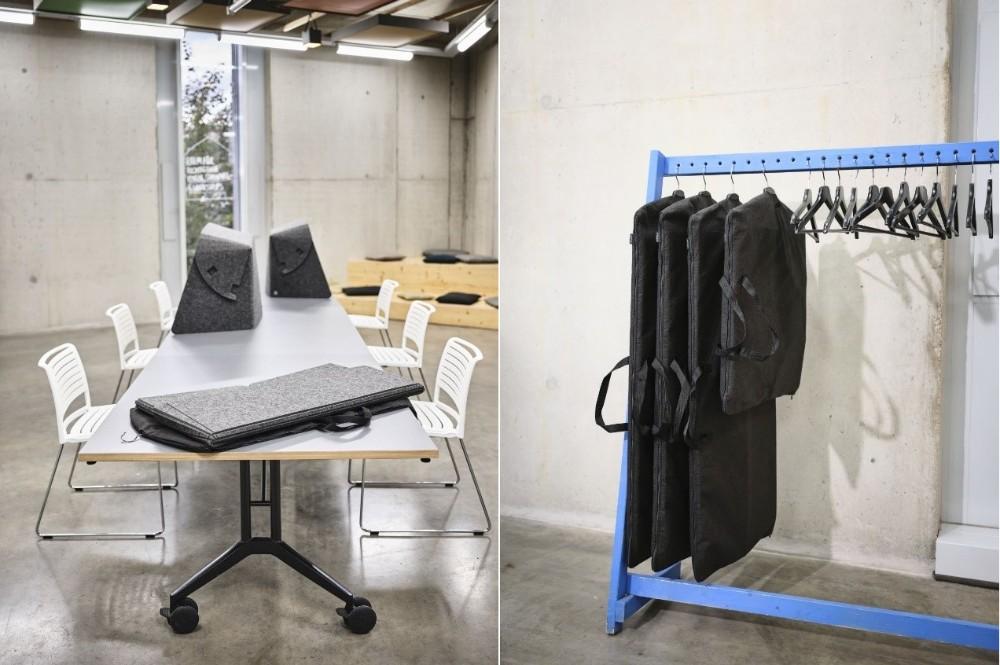 Leichte faltbare Tischaufsätze wie der Fold-Up-Workspace lassen sich kompakt im Kleidersack verstauen und verwandeln im Handumdrehen jeden Tisch in einen abgeschirmten Arbeitsplatz, ob bei der mobilen Arbeit zu Hause oder innerhalb der Bürogebäude. Abbildung: Wilkhahn