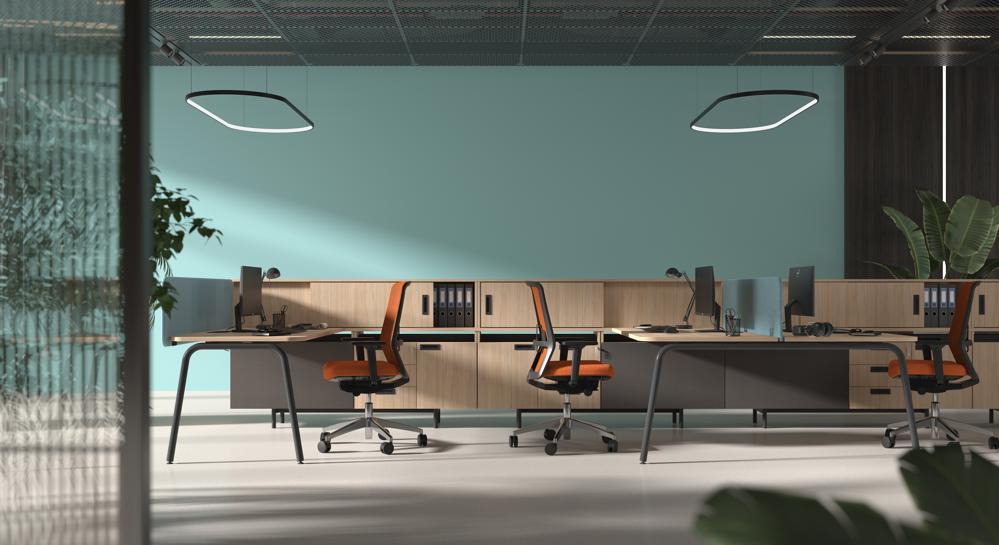 Einzel- oder Doppelarbeitsplatz: Das Tischsystem Round ermöglicht ein flexibles Gliedern von Arbeitsflächen. Abbildung: Narbutas