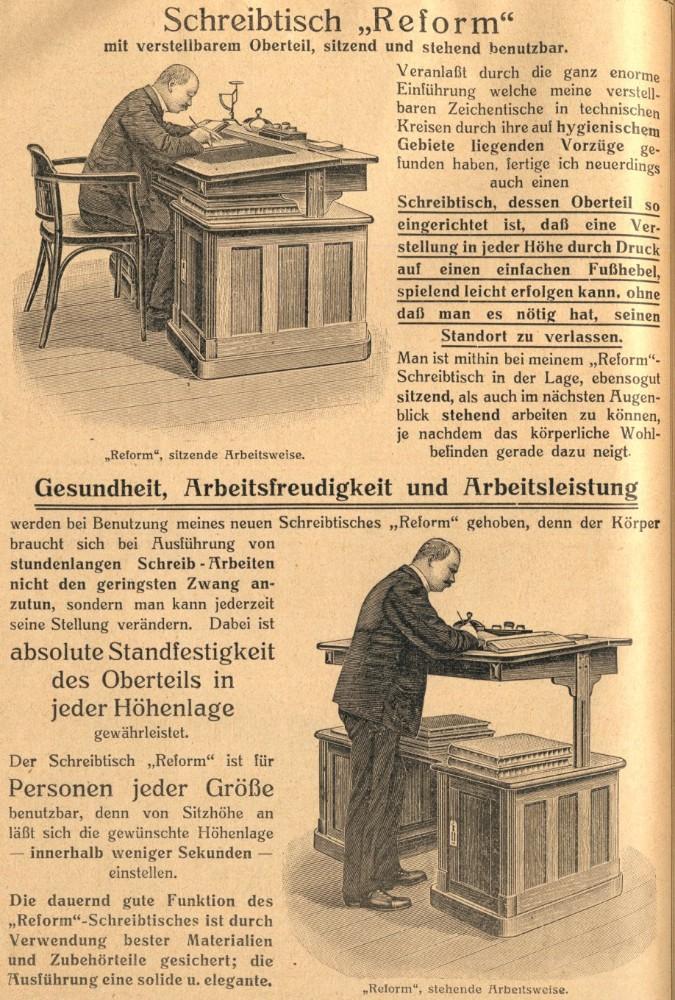 Werbeplakat der Firma Reiss um 1910 für den ersten höhenverstellbaren Sitz-Steh-Tisch. Abbildung: Reiss
