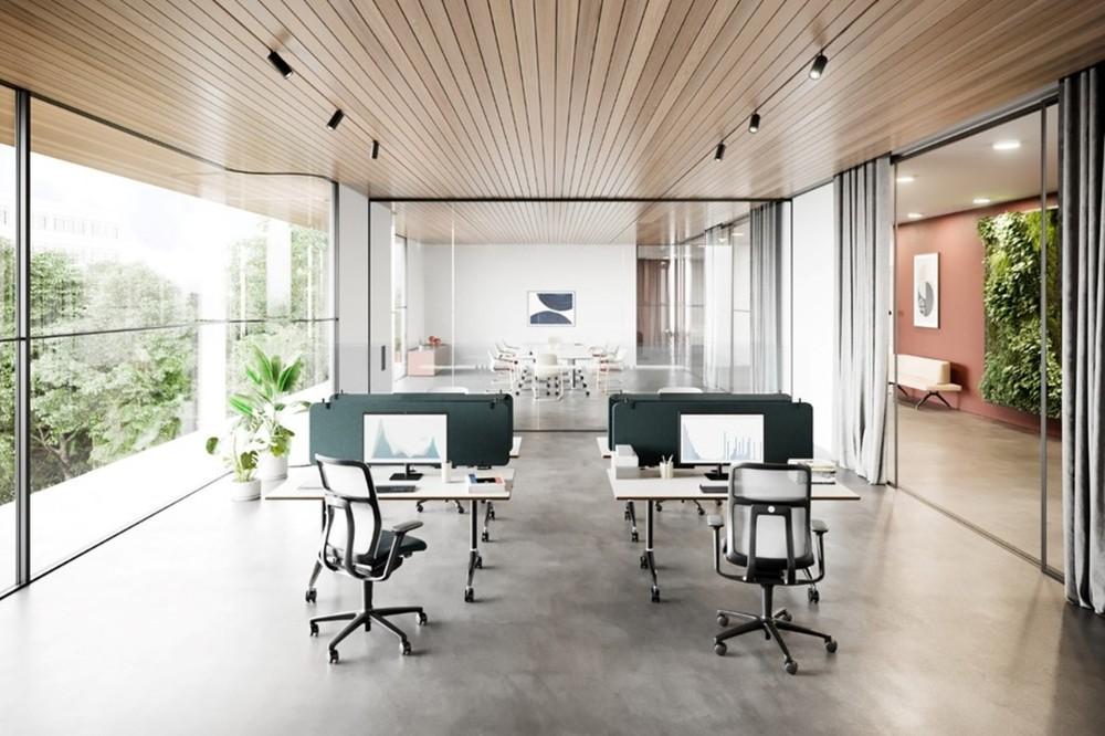 Timetable (Design: Andreas Störiko) mit Foldscreen: Mobile, klappbare Tische, die sich bei Bedarf mit werkzeugfrei addierbaren Sicht- und Akustikblenden ausstatten lassen, bieten maximale Flexibilität und Zukunftssicherheit. Abbildung: Wilkhahn