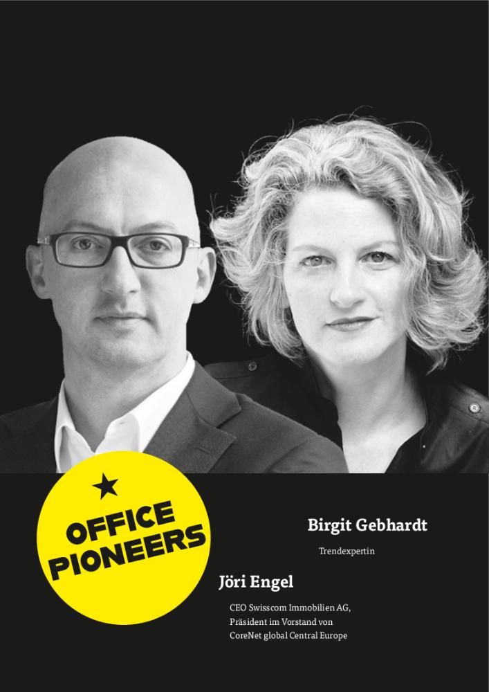 Jöri Engel, CEO Swisscom Immobilien AG, Präsident im Vorstand von CoreNet global Central Europe & Birgit Gebhardt, Trendexpertin. Abbildung B. Gebhardt: Rebecca Hoppé
