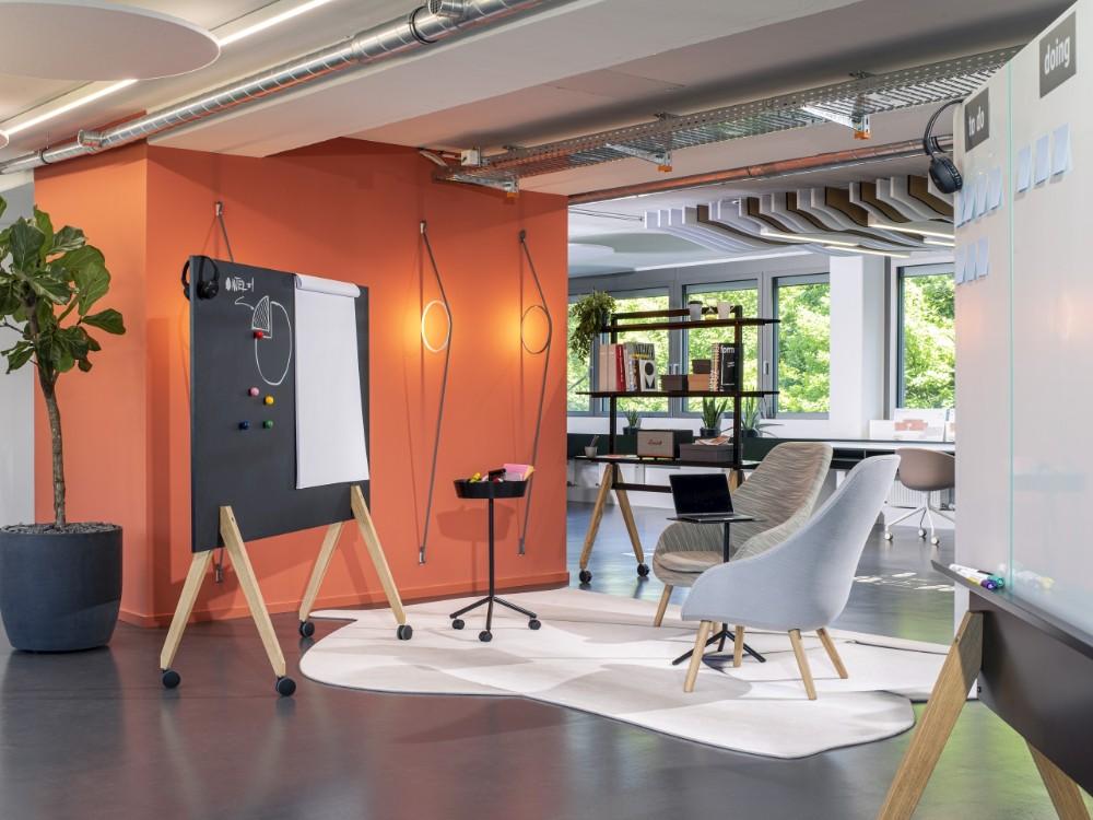 Mobile Boards sind für Design-Thinking-Szenarien wie Social Space, Focus Space, Collaboration Space und Creation Space geeignet. Abbildung: roomours