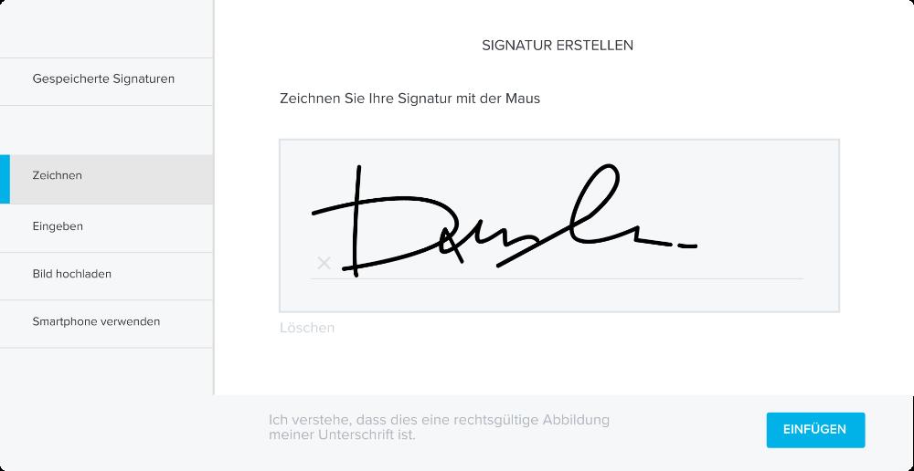 Mithilfe einer elektronischen Signatur können Unterschrift, Kopie und Ablage innerhalb von Minuten erfolgen. Abbildung: HelloSign